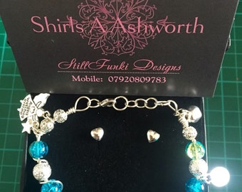 Aquamarine & Jade Silver Bracelet. With 4 charms. Angels watching over you Believe and Silver Star and Silver Bell