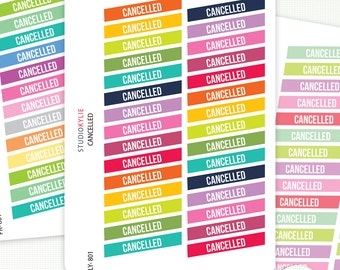Cancelled Planner Stickers -  Repositionable Matte Vinyl To Suit Erin Condren Life Planner Vertical