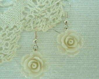 Pretty silver vintage style ivory rose drop earrings