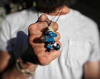 Vintage toy smurf figurine - Pendant necklace