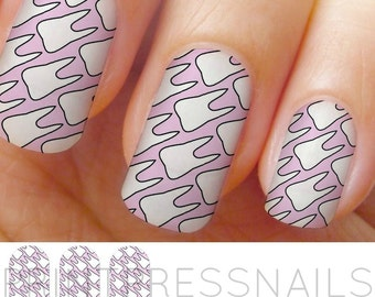Tooth, Creepy Cute, Pastel Pink Nail Strips, Nail Art, Nail Decal, Nail Tattoo