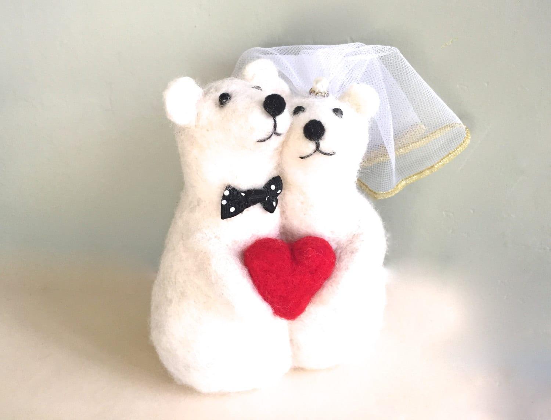 Polar bear figurine polar bear wedding cake topper polar bear