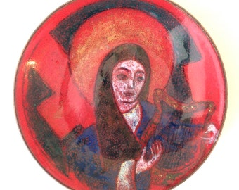 Vintage Enamel on Copper Dish Woman with Lyre Red and Blue Trinket Dish