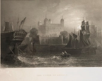 Antique Tower of London Steel Engraving 1842 Willmore Bartlett