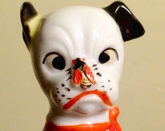 Adorable Puppy Dog With Fly on Nose Mid Century Kitsch Japan