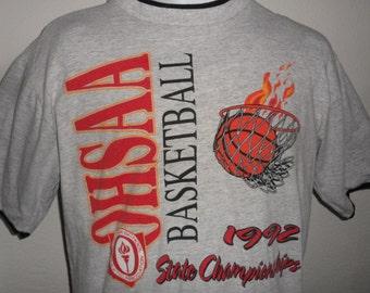 Vintage Original 1990s 1992 OHIO OHSAA Basketball State Championships T Shirt L