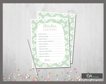 Wishes For Baby Printable, Baby Shower Wishes List, Baby Shower Game, Dear  Baby