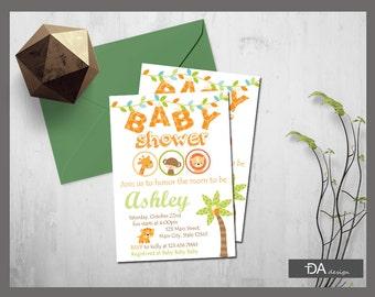 Safari Baby Shower Invitation, Jungle Baby Shower Invitation, Safari Invitation, Baby Animal Baby Shower Invite, DIGITAL FILE