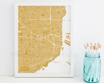 Miami Map Art Miami Print Miami Art Print Miami Poster Miami Printable Miami City Art Miami Florida Art Miami Digital Miami Printable Art