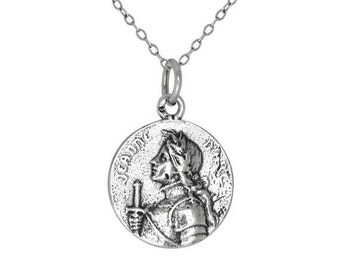 ON SALE Sterling Silver .925 Jeanne d' Arc Joan of Arc Medal Charm Pendant Necklace   Made in USA