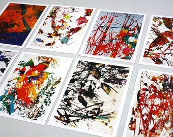 Set of 8 Postcards- from original abstract art by Xavier Jaques M, Digital art flowers print postcards, Abstract art postcard gift set of 8