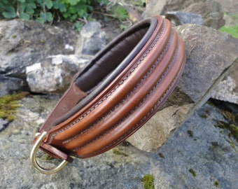 "1"", 1 1/4"" and 1 1/2""  Widths,Triple Raised Leather Dog Collar, Padded or Non Padded Options"