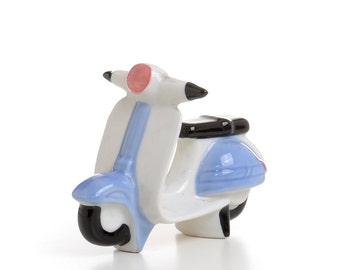 Vespa scooter porcelain motorcycle, mod decor