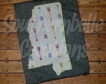 Women's Mississippi State T-Shirt Fabric Appliqued State Shirt Arrow Print MS Shirt