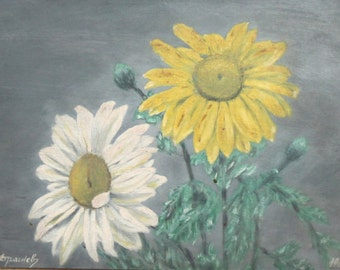 1964 Oil painting still life with flowers signed