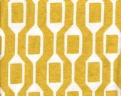 Follow Me (Sun Yellow) on Organic Cotton Jersey Fabric-HALF YARD