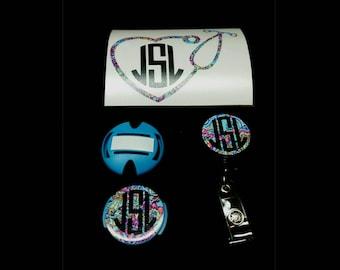 Nurse Monogram Combo Pack- Stethoscope Decal- Stethoscope ID Tag- Monogram Badge Reel