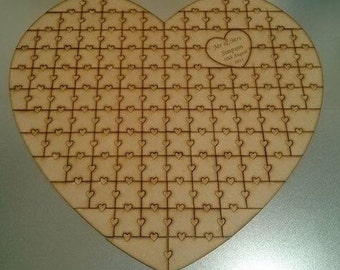 Jigsaw Puzzle Guestbook, Wooden Guestbook, Wedding Guestbook, Puzzle, Heart Guestbook, Jigsaw, Puzzle Guestbook