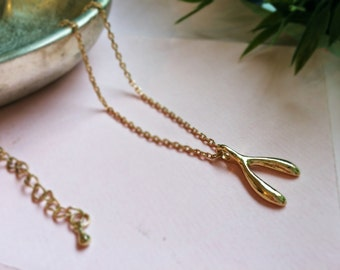 Wishbone necklace in gold - Mystic jewel
