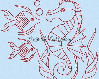 Redwork seahorse - panel 10. Machine embroidery pattern. Download Immediately