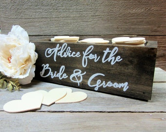 Advice for the bride and groom, wedding advice box, advice box, advice book, advice holder, bridal shower gift, rustic wedding decor