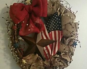 Patriotic Wreath, Fourth of July Wreath, Americana Wreath, Everyday Wreath, Burlap Wreath