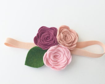 felt flower headband, rose flower headband, 3 rose flowers, pink ombre, pink, rose quartz, mulberry