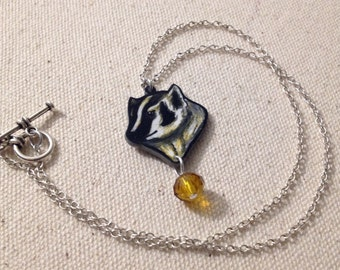 Hand Drawn American Badger Charm Necklace