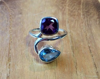 Multi-Stone Amethyst Blue Topaz Ring // 925 Sterling Silver // Natural Stones // Size 7