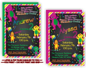 YOU PRINT - Barney and Friends Birthday Invite, Barney & Friends Birthday Invitation, Barney and Friends Invite, Barney Invite - BIRINV60
