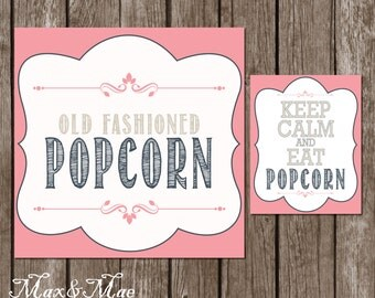 Wedding Popcorn Bar Sign, Birthday Popcorn Bar Directions,Keep Calm and Eat Popcorn Sign, Old Fashioned Popcorn, Digital, Printable