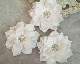 white poinsettia, kanzashi flowers, lotus flower, large flowers, winter flowers, headband flowers, headband supplies, poinsettia flowers