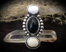"""Ebony & Ivory ~ White Buffalo Turquoise + Onyx  / Southwestern Jewelry / Sterling Silver Ring / Boho Chic Style / """"Made to Order"""""""