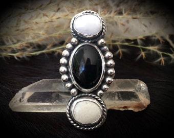 White Buffalo Onyx Ring. Southwestern Bohemian Jewelry. MADE TO ORDER