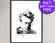 JAMES DEAN Nº1 Watercolor Art Print - Movie Star Ink Painting Music illustrations Art Print 8x10 Wall Art Poster Giclée Wall Decor Home