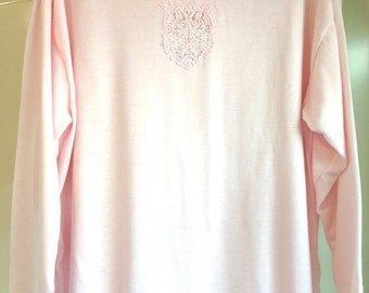 Vtg XL - 1X Pink Fancy Victorian Lace Turtleneck Cotton Long Sleeves