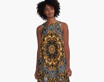 Metallic Earth  A-Line Swing Dress Trapeze Dress  XS S M L XL 2XL Woman Teen Wearable Art Clothing