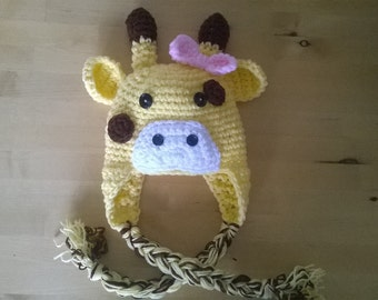 Crochet Giraffe Hat, Crochet Giraffe,  Made to order