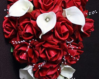 Red, white, offwhite, Cascade / cascading bouquet, Real Touch flowers, roses, calla lilies and pearls, silk wedding flowers