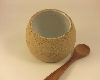 Salt cellar pig well with spoon: White & Natural partially unglazed stoneware