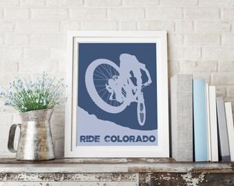 Mountain Bike Art Print ~ Gift for Biker ~ Colorado gift ~ Colorado bike art ~ Mountain biking ~ bicycle art print ~ Mountain bike print