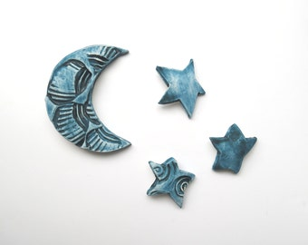 Ceramic ~wall sculpture ~Teal blue wall art ~blue wall sculpture ~Moon and stars ~Stars ~ceramic wall art ~outdoor wall art ~Garden ~fence
