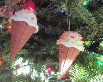 2 1960's Plastic Candy Ice Cream Cone Christmas Tree Ornaments