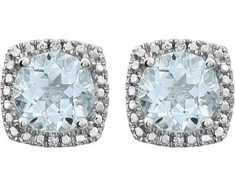 Sale! Sterling Silver Aquamarine & Diamond Round Halo Style Stud Earrings March Birthstone 1.68 CTW