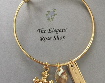 Beautiful Religious Charm Bracelet in Gold