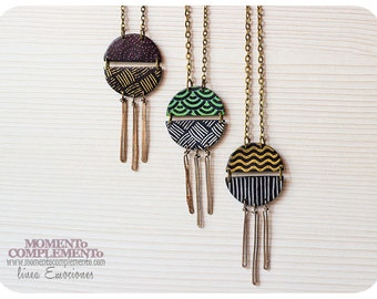 Necklaces pendant handmade polymer clay & bronze charm. Silck screen pattern and bronze ornament. Chic pendant for any casual occasion.
