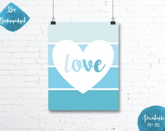 LOVE Heart and blue paint chip - Nursery poster - Pdf printable, DIY, wall art, inspirational decoration, motivational
