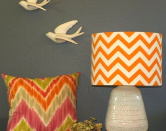 Australian Made Lampshade, Chevron Drum 33x24cm, Available in 5 Colours and 2 Fittings, Made to Order 1-2 weeks