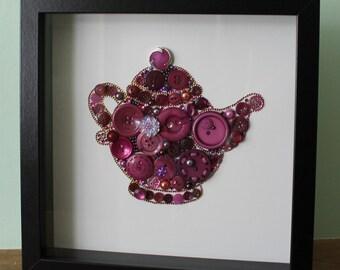 Wine color button teapot, kitchen button art, teapot picture, elegant shiny teapot, button frame, button art, wall decor, wall art