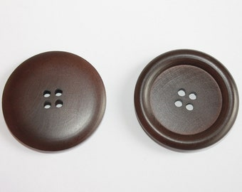 Wooden large 45 mm buttons, dark brown huge wood buttons, 4 hole sewing, chunky coat buttons, decorative buttons, lot of 3 pcs